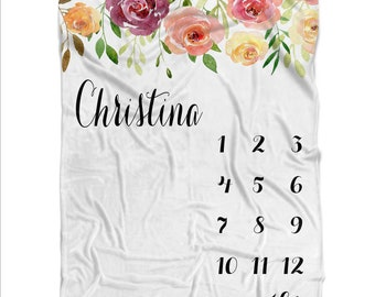 Milestone Blanket Girl Baby Blanket For Girl Personalize Baby Growth Blanket Floral Swaddle Flower Receiving Blanket Girl Month To Month