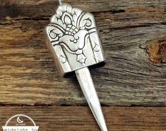 Her Majesty Knife Bell Necklace - Knife Necklace - Silverware Necklace - Silver Knife Pendant - Silver Bell Pendant - Silver Knife Necklace
