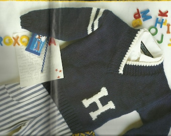 PDF Knitting Pattern Striped Front Opening Sweater, 12Ply/Bulky, Child's