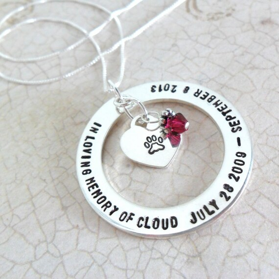 Custom Pet Necklace - Pet Memorial Necklace - Paw Print Jewelry - Gift for Pet Mom - In Memory Jewelry - Loss Jewelry - Commemoration