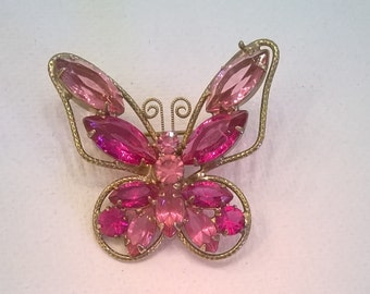 Dark Pink Rhinestone Butterfly Brooch with 1 1/2 Inch Wingspan - Vintage Goldtone and Sparkling RS Brooch