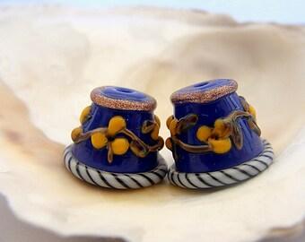 Blue Cone Beads Handmade Lampwork