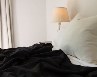 Black Linen Coverlet - Bold Bedding - Made to Order in the USA