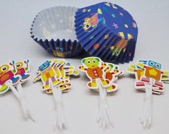 SALE ROBOT Deluxe Cupcake Kit - QTY 24  - Cupcake Pick - Cupcake Wrappers - Robot party - Robot cupcake topper