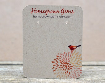 Custom Earring Cards Customized Jewelry Display Cards Colorful Red Bird Flower Mum   DS0049