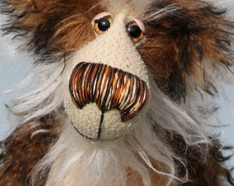 Baron Marcel von Crinklehoven is a comical yet handsome, one of a kind, artist bear by Barbara-Ann Bears in wonderful fluffy tipped mohair