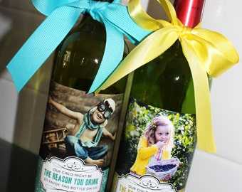 My Child Might Be the Reason You Drink Wine Label // Teacher Appreciation Gift // Thank You // Graduation or End of School Year Gift