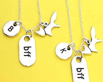 Set of 2 Best Friend Necklace, Distance Necklace For 2, Distance Charms, Personalized, Initial, Custom, Friendship Jewelry, Gift For Friend