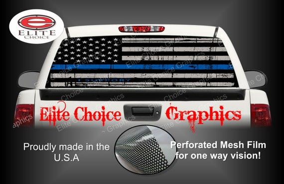 Police Thin Blue Line Police Flag Rear Window Graphic Tint - Back window decals for trucks