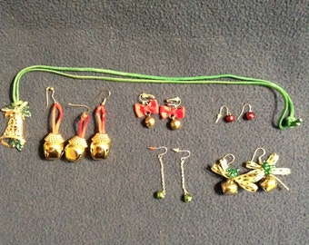 Group of vintage Christmas jingle bells jewelry.
