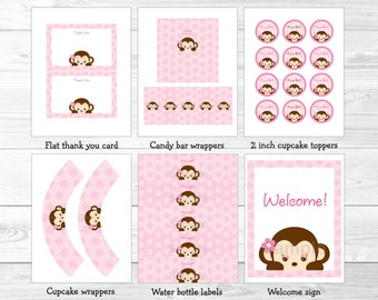Pink Monkey Baby Shower Party Package / Monkey Baby Shower / Baby Shower Decor / Baby Shower Package / Printable INSTANT DOWNLOAD A421
