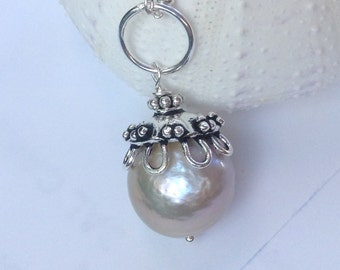 Large 15mm Kasumi Pearl Pendant with Ornate Hill Tribe Silver, June Birthstone, Pearl Pendant,Kasumi Pearl Necklace,  sterling silver