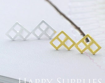Nickel Free - High Quality Geometry Dual-used Golden / Silver Brass Earring Posts With Ear Studs Back Stoppers (ZEN013)