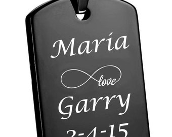 Personalized High Polished Black Dog Tag Necklace  Engraved Free