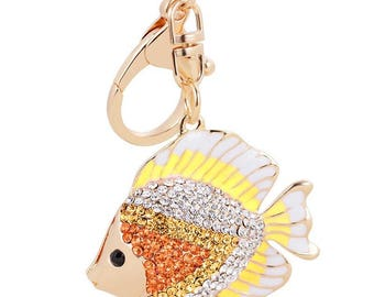 Rhinestone Yellow and Gold Beta Fish Charm for planners/purse/bags