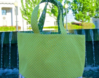 20% off! Light & Dark Green Tote Bag with Green Paisley lining
