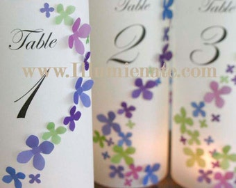 10+ hydrangea Table number Luminaries for centerpieces, table numbers at wedding, events, balls