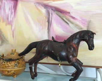 Vintage Leather Wrapped Running Horse Figurine with Saddle/ Handmade Leather Horse Figurine/ Brown leatherpremitive Horse figurine art decor