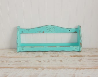 Unfinished nail polish holder distressed makeup organizer spice rack nail polish holder essential oil holder distressed vintage spice shelf aqua mint solutioingenieria Choice Image