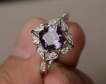 Alexandrite Ring Promise Ring Cushion Cut Gemstone June Birthstone Ring Color Changing Gems Sterling Silver Ring
