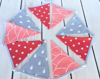 Red and grey Fabric Flags,fabric bunting, fabric banner, kids room decor, flag bunting, fabric flags, nursery decor, party, photo prop