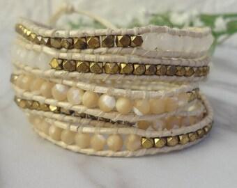 5 Wrap Glod Plate  Beaded  Shell Simulated Leather Wrap Bracelet 700