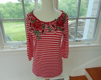 Nautical Embellished Jersey Top - Upcycled Boho Striped Top - Sz. Med