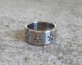 Womens Unique Ring, Fidget Spinner Ring, Fidget Ring, Band Ring Stainless Steel, Flower Ring, Bearing Ball Ring, Women Cool Ring, Berman