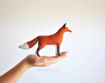 Felt Fox Stuffed Animal. Ready to Ship. Woodland Felt Animal. Soft Sculpture Fox Art Toy.