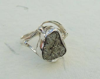 Pyrite and silver ring. Size 58
