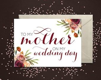 To my mother on my wedding day - Greeting Card Note Card - Mom Mother of the Bride Card with Metallic Envelope Wedding Stationery