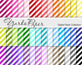 Digital Paper Pack, Diagonal Stripes Scrapbook Paper, Digital Background, 42 Sheets, Rainbow Paper, Personal & Commercial - Instant Download