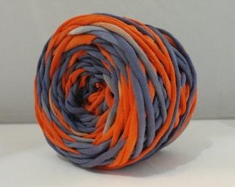 T-Shirt Yarn, Tshirt Yarn, Navy, Red Orange, 60 Yards Cotton Yarn - Denver Broncos - Chunky Yarn