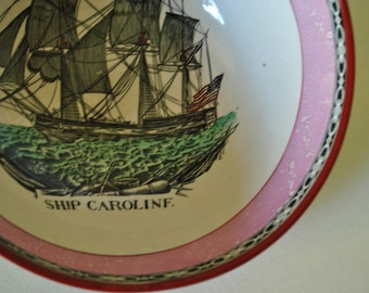 Sale 20% off 1895s  ship Caroline  luster bowl. James Leech.