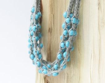 Multi strand necklace Grey blue layered beaded necklace Linen crochet jewelry Boho chic Rustic Bohemian style Natural Gift for her