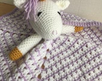 Crochet Purple Unicorn Lovey Travel Security Blanket Snuggle Wubby Amigurumi Toy
