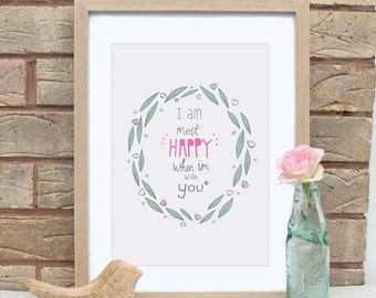 A4 Anniversary Most Happy With You Print