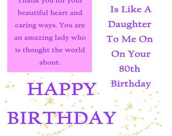Like a Daughte 80 Birthday Card with removable laminate