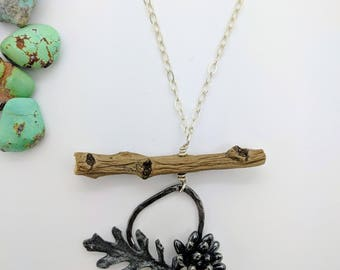 leaf succulent twig long necklace