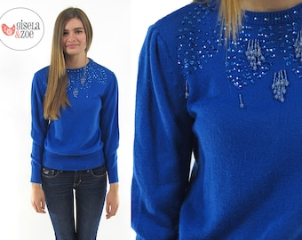 Vintage 80s Beaded Sweater / Puff Sleeve Sweater / Fitted Sweater / xs sm