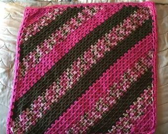 Diagonal Granny Stripe Baby Blanket