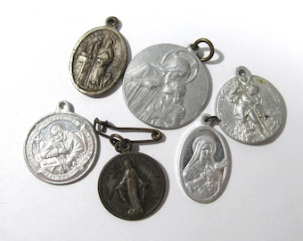 Miraculous Medals VINTAGE Religious Medals Six (6) Assorted Saints Mary Religious Jewelry Religious Medallion Vintage Jewelry (D205)