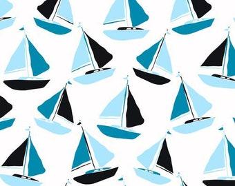 Tides by Jane Dixon, Sailboat in Blue Teal, Ocean Fabric, Nautical Fabric, Blue and Aqua Fabric, Blue Nautical Fabric, Fish Fabric, A-8080-T