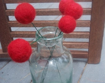 Red Needle Felted Pom Pom Flower Bouquet
