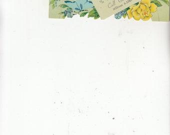 "Vintage Diecut Calendar -Spring--Grande Flower Shop-Advertising-Indianapolis-Easel Back -August 1964 6"" X 3"""
