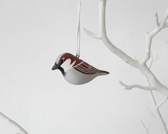 House sparrow handmade hand painted polymer clay bird totem sculpture ornament