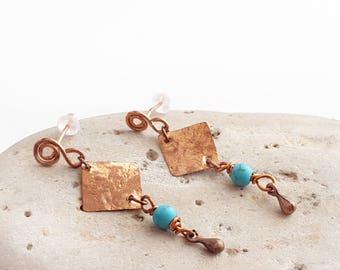 Turquoise dangle earrings - Turquoise earrings Copper earrings Boho turquoise earrings Boho turquoise jewelry Turquoise and copper earrings