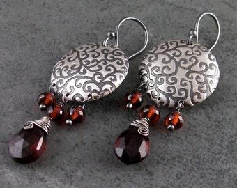Garnet chandelier earrings, handmade sterling silver birthstone earrings-OOAK