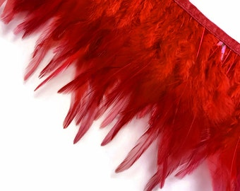 Rooster Trim, 1 Yard - RED Rooster Neck Hackle Feather Trim : 3185