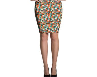 Trendy Stylish Fashion Geometric Hipster ColorfulPencil Skirt